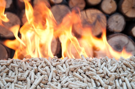 wood pellet: Pellet in flames- stock photo