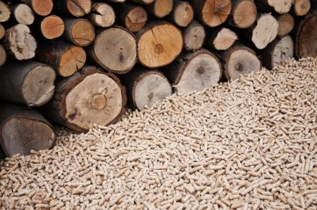 biomasse: Oak pellets infront wooden wall