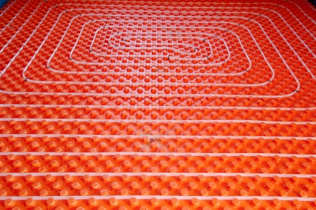 and heating: Underfloor heating at home- stock photo