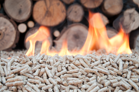 pellet gun: Pine pellets in flames- selective focus on the heap Stock Photo