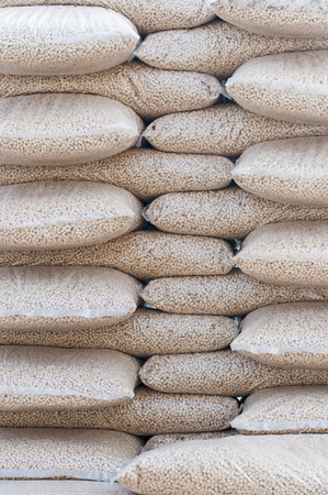 biomasse: Pine pellets- stack of sacks- stock photo