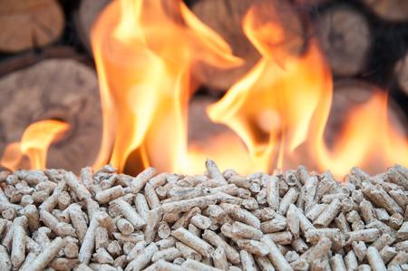 Pine pellets in flames- stock image Standard-Bild