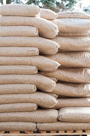biomasse: Heap of stacks of Pine pellets