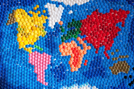 World map made by plastic caps Stok Fotoğraf