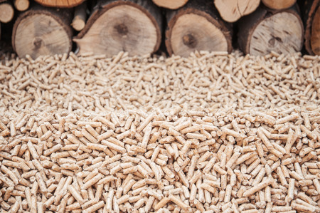 Pine pellets infront a wall of firewoods Stock Photo