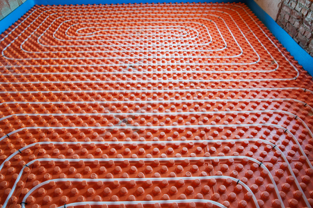 and heating: Underfloor heating sistem- pipes, instalation, orange base