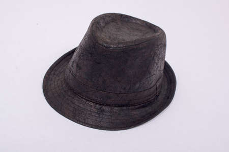 brown leather hat: Brown leather hat on a white background