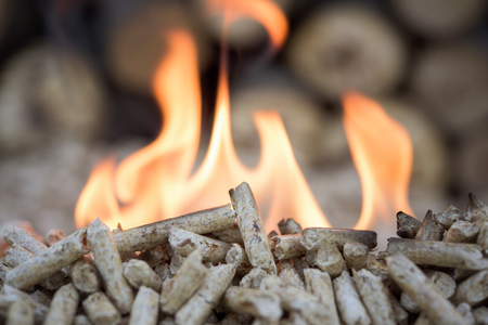 pellets: Biomass- pellets in flame, closeup, selectiv focus