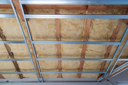 fibreglass: Part of Construction of ceiling insulation- stock image Stock Photo