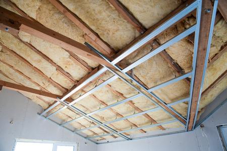 Part of Construction of ceiling insulation- stock image Foto de archivo