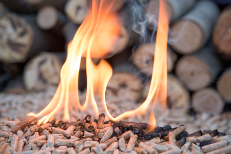 Pellets in flames infront pile of wood Stock Photo