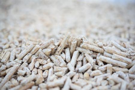 pellets: Pile of wooden fir pellets- close up Stock Photo