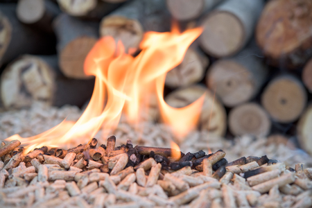 Fir pellets inflames in front wooden wall