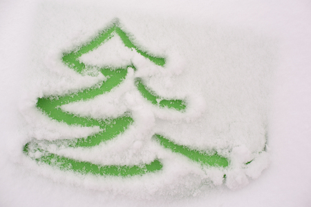 drow: Handmade drawing in a snow on a green paper