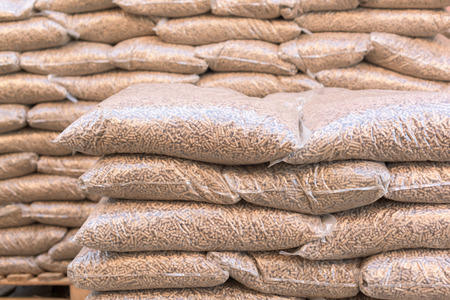 Eco-biomen in zakken-spar pellets Stockfoto