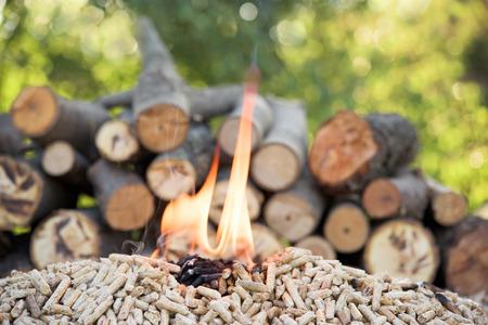 Granulat sosnowy i plik drewna w płomieniach