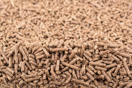 Wooden biomass formed in pellets - close up Stock Photo