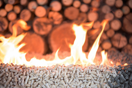 Wooden mass in fire - pellets and pile of wood