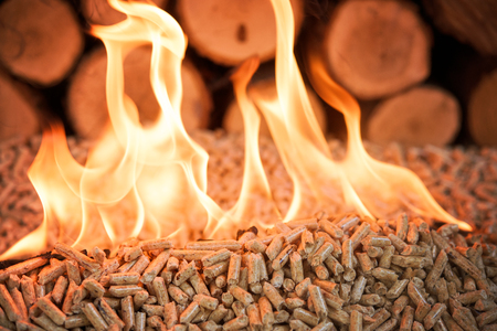 Oak pellets in flames - fire and pile of wood