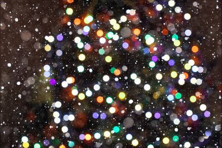 Christmas Background. Colorful Holiday Abstract Glitter Defocused Background With Blinking Stars an snowfalls. Blurred Bokeh