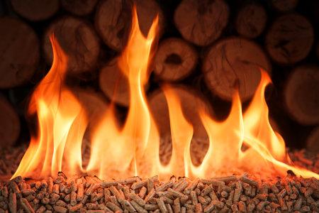 Pile of coniferous pellets in flames - wooden biomass