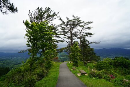 Walkway and benches among green trees in Japanese garden along hilltop with panorama view, Takachiho, Japan Stock Photo