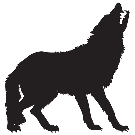 animal den: silhouette of a wolf