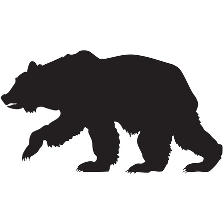 animal den: silhouette of a grizzly bear