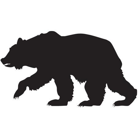 oso negro: silueta de un oso pardo Vectores