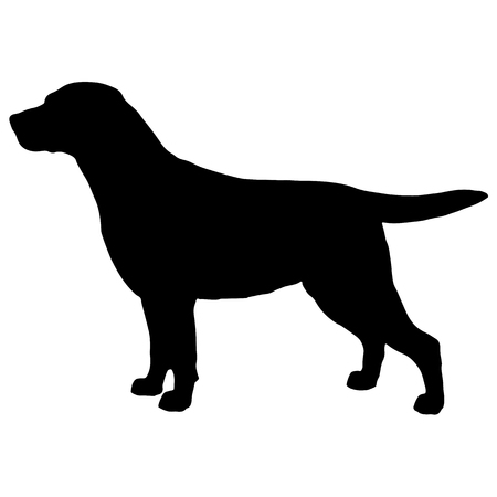 Black and white silhouette of dog labrador Vectores