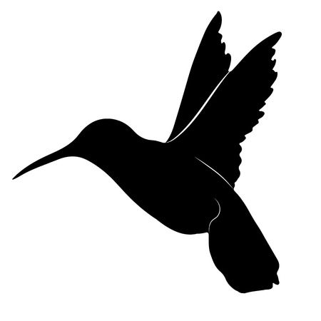Black and white silhouette of a hummingbird Ilustracja