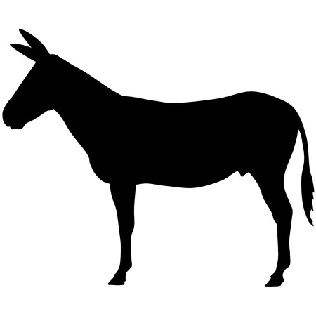 A silhouette of donkey