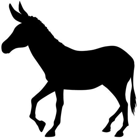 Silueta, burro Ilustración de vector