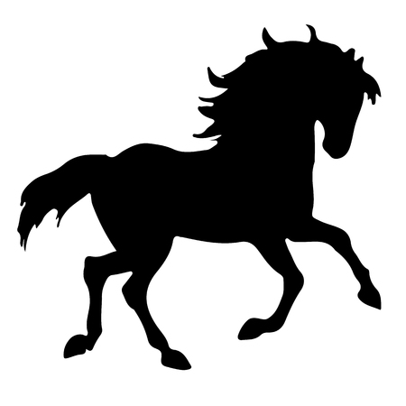 Rearing up horse fine vector silhouette and outline Ilustrace