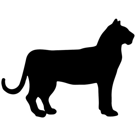 tiger black and white vector silhouette Illustration