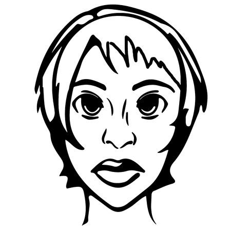 女性の頭部。黒と白の絵画