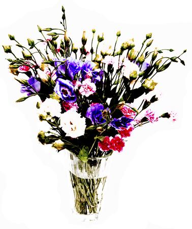 バラの花やクリスタルの容器にカーネーションの花束