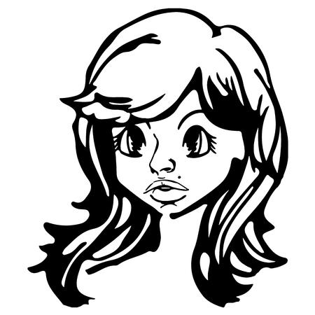 素敵な女性の頭部。黒と白の絵画