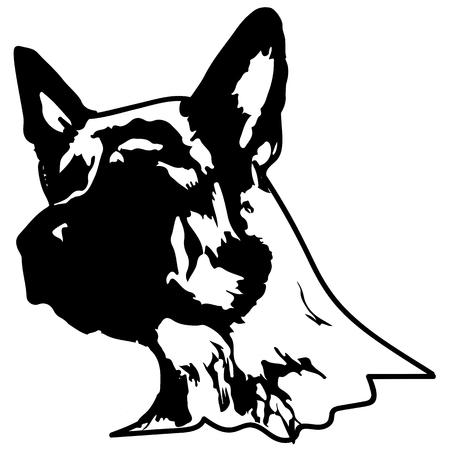 犬のシルエット。ジャーマンシェパードのベクターイラスト。