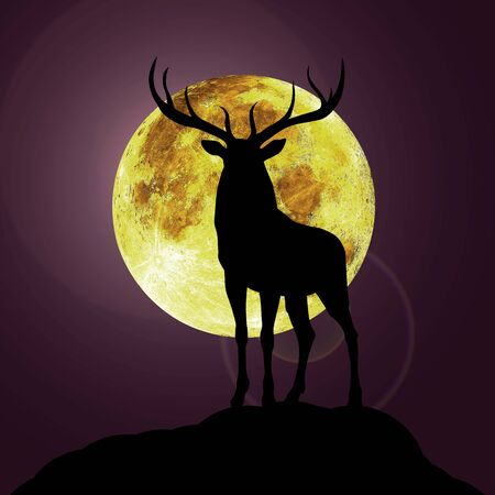 dier black silhouette illustrastion of animal with moon