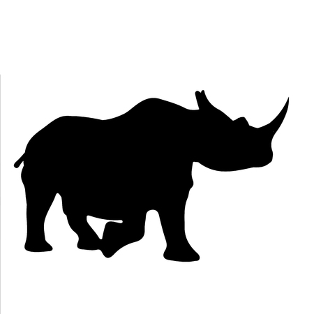 black and white vector silhouette of a rhino