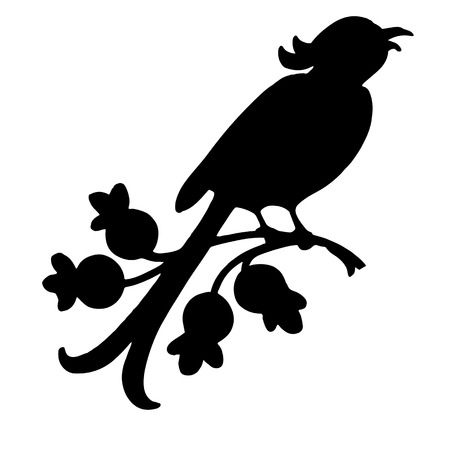 vector black silhouette of a singing bird on a branch Illustration