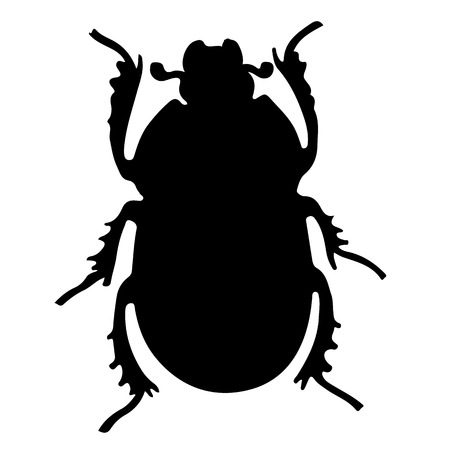 Scarab beetle silhouette. Insects simbol for tattoo Illustration