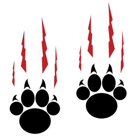 Footprints of a big cat. Panther or tiger traces Illustration