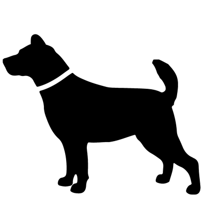 Black and white silhouette of dog l