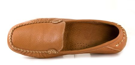 Brown ladys shoes. Model moccasins.