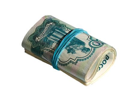 Roll of russian real rubles