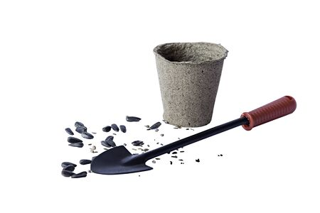 spade: Seeds pot and spade for planting