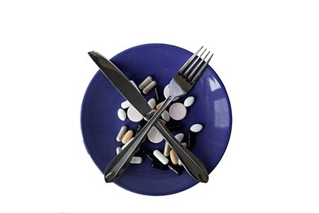 prescribe: The blue plate with a set of pills