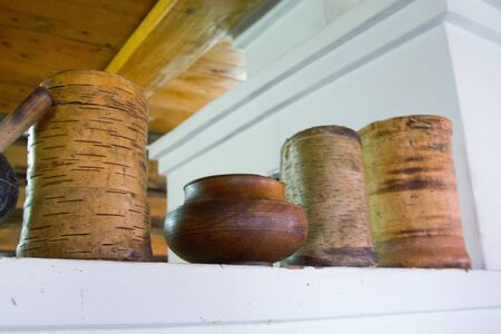 bark carving: Pots made of wood Stock Photo